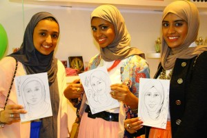 Girls with their sketches