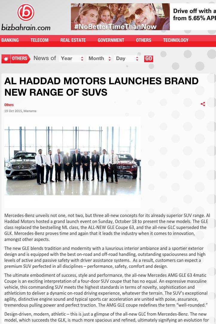 Al Haddad Motors SUV - BizBahrain - 19 October - ONLINE